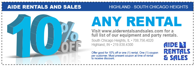 Coupons For Our Equipment Rentals Store In South Chicago